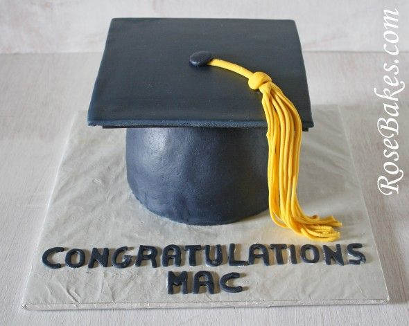 Black Graduation Cap with Gold Tassel Cake