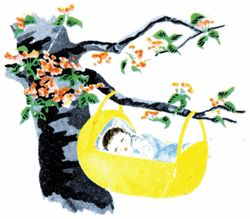 Rock-a-Bye, Baby. The American roots of this odd rhyme come from a young pilgrim who saw Native American mothers hanging cradles in trees. When the wind blew, the cradles would rock and the babies in them would sleep.