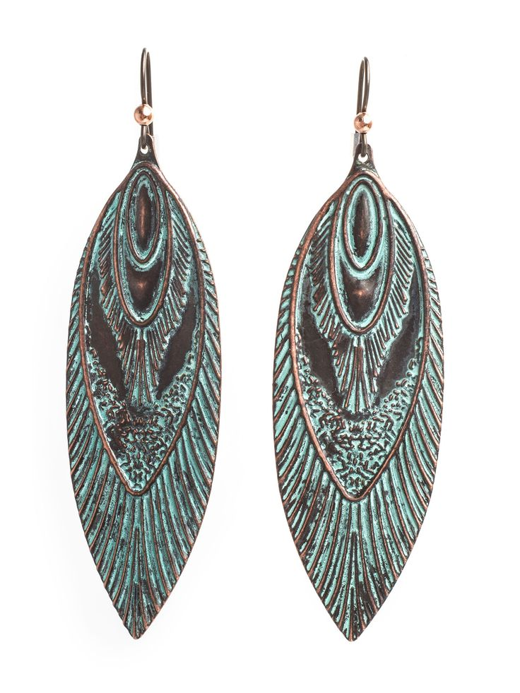 Nata Earrings, Tribal Boho Antique Green Copper Vintage Earrings
