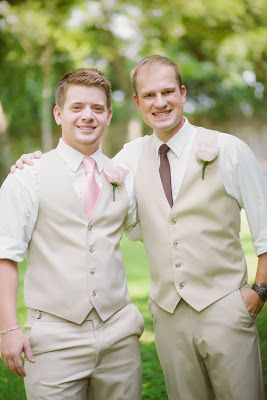 Kaitlin Leigh groomsmen tan suit groom tan suit blush pink tan wedding