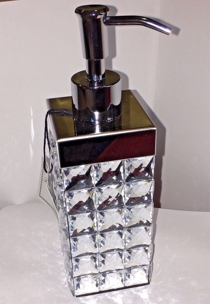 Bella Lux Mirror Bling Glamour Bathroom Jeweled Soap Lotion Dispenser