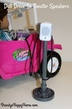 Create a DIY American Girl doll sized DRIVE-IN Theater speakers from cpvc and a free printable; perfect kid craft for summer fun!