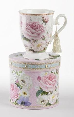 Gift Boxed Porcelain Mug with Tassle - Pink Rose