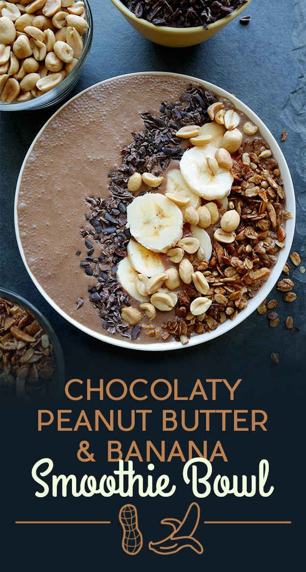 Chocolaty Peanut Butter and Banana Smoothie Bowl: 1 cup almond milk 1 large banana, sliced 1 cup ice 2 Tbsp. peanut butter  1 Tbsp. unsweetened cocoa powder ¼ tsp pure vanilla extract 1 Tbsp. maple syrup 2 Tbsp. cocoa nibs 2 Tbsp. granola 2 Tbsp. chopped peanuts