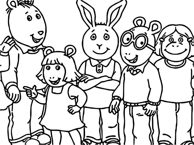 awesome Arthur Family Friends Coloring Page