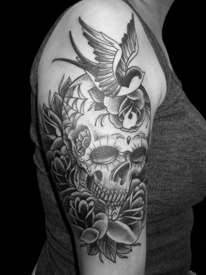 Sugar Skull Tattoo Black And Grey -sugar skull in black grey