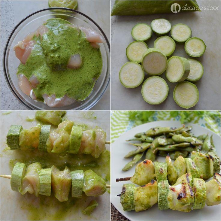 Brochetas de pollo al cilantro y calabacitas www.pizcadesabor.com
