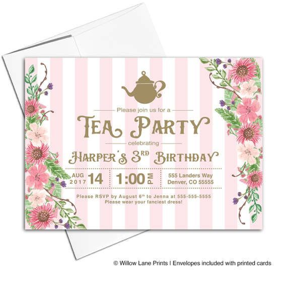 Girls tea party invitations, third 3rd birthday invitations for girls, three 3 year old birthday girl, printable or printed - WLP00311