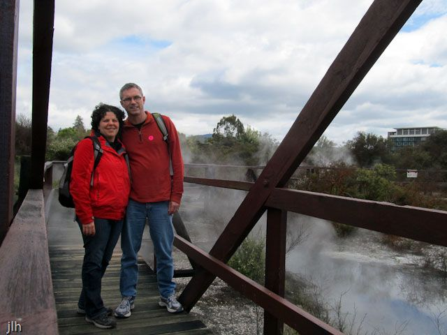 Normally, we keep out of the photos but sometimes we make an exception. This photo was taken at the Whakarewarewa thermal village in Rotorua. As you can tell with the steam in the background you get really close  to everything!