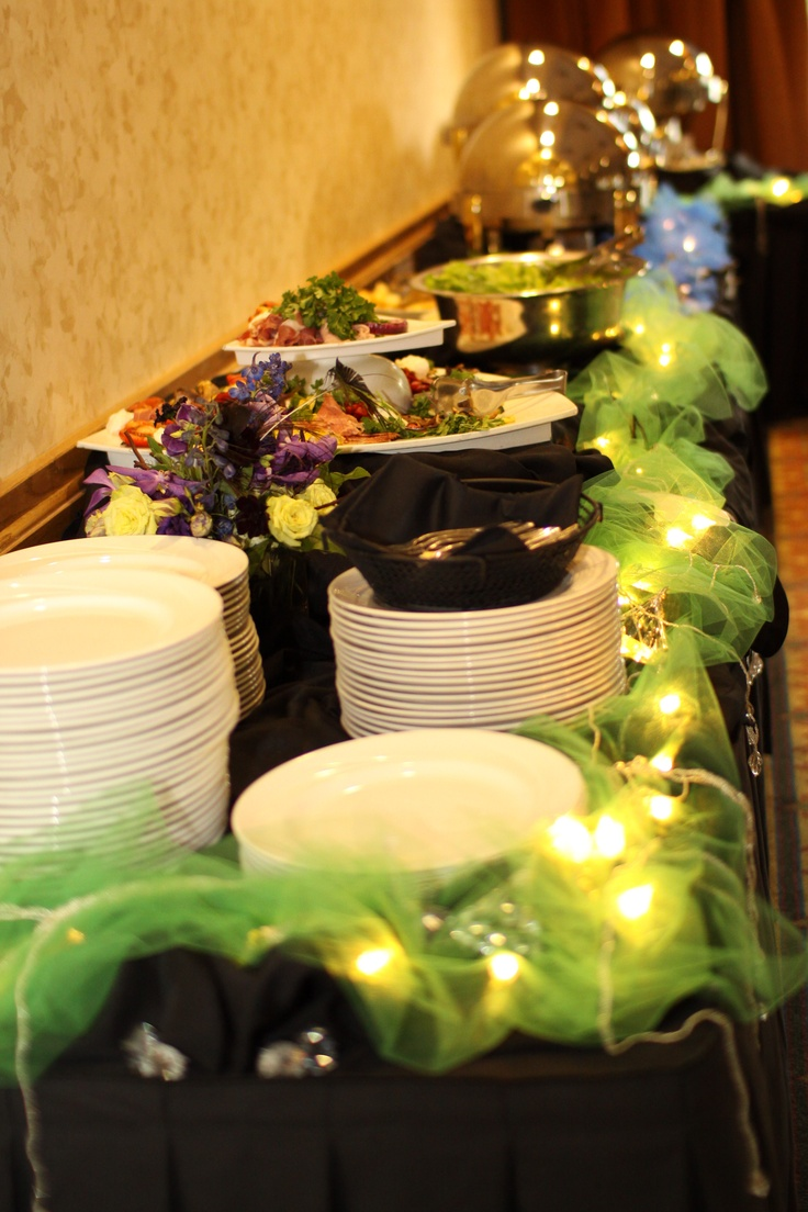 Buffet- blue/green/lights/hanging crystals/flowers