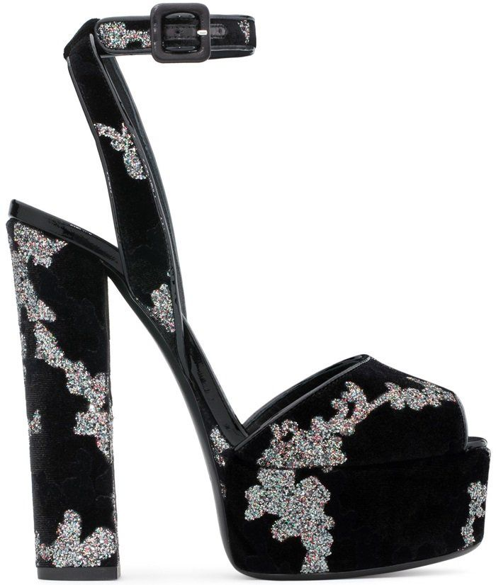 a0b674b374e Black Velvet Betty Sandals With Platform. Find this Pin and more on Celebrities  Wearing Giuseppe Zanotti ...