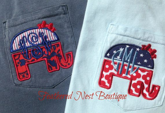 Elephants, party pride AND a monogram? Sign us up! Show your love for these three things and all things red, white & blue with our Monogram