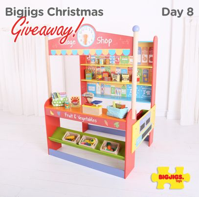Day 8 of the Bigjigs Giveaway & we are giving you the chance to win this wonderfully wooden Village Shop worth £119.99! For your chance to play shopkeeper enter via one of the four following ways.  1. PIN this with your friends 2. RT & Follow on Twitter: https://twitter.com/bigjigstoys 3. LIKE & COMMENT on Facebook: https://www.facebook.com/BigjigsToysLtd 4. Sign up to our Newsletter: http://ow.ly/rEIYK  For T&C's visit our blog: http://blog.bigjigstoys.co.uk/competitions/ Ends midnight…