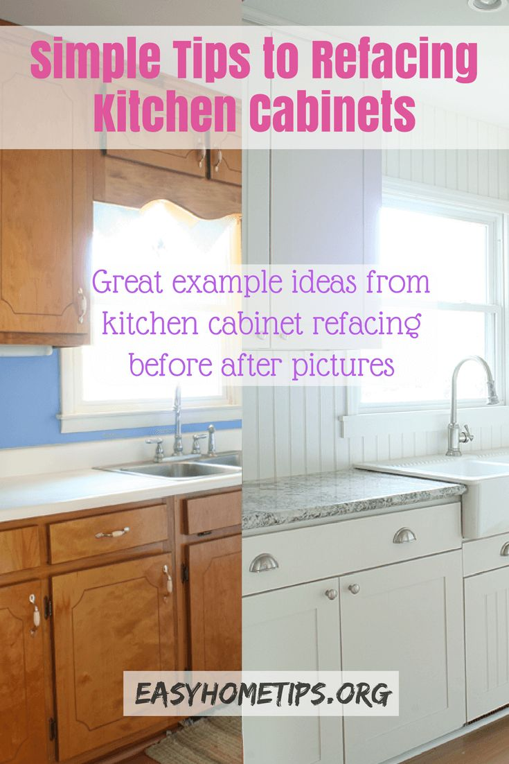 Simple Tips to Refacing Kitchen Cabinets. Great example ideas from refacing before and after pictures