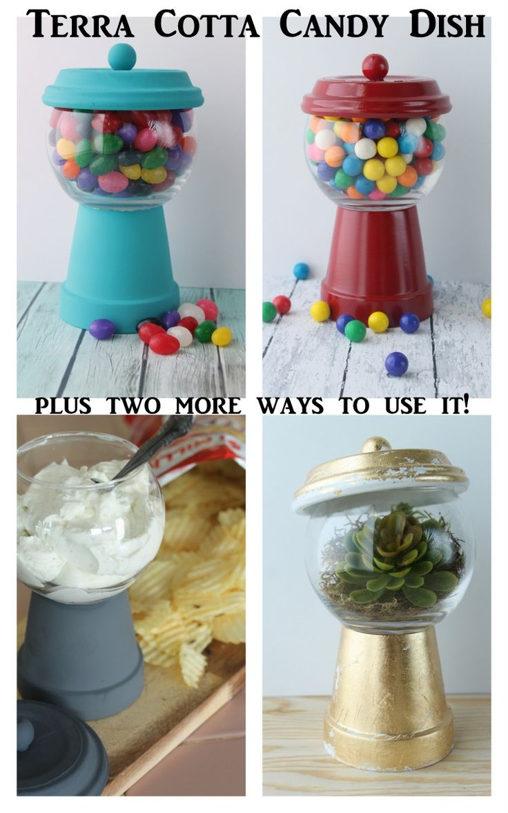 Terra cotta candy dish -- use a clay pot and glass dish to make a candy dish and more. Use it four different ways for a fun addition to your home!