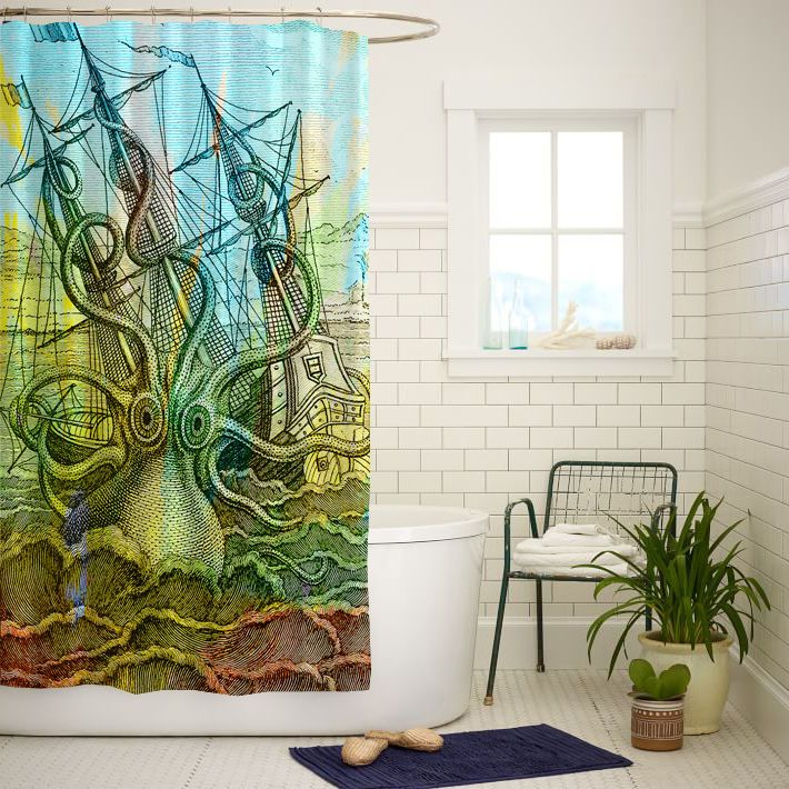 Octopus Vintage Ship Art Custom Shower Curtain Size 60x72 and 66x72 #Unbranded