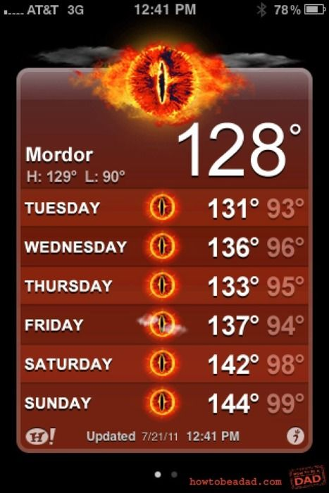 weather in Mordor.Lotr, The Lord, Nerd, Laugh, Geek Humor, Mordor, Funny, Weather, Rings