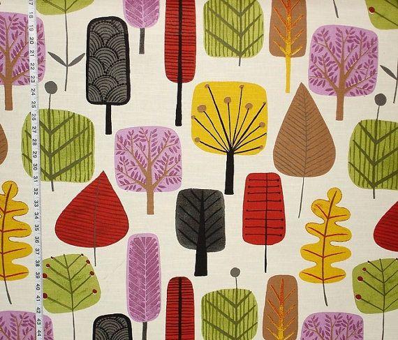 Retro Scandinavian wood fabric tree leaf purple orange yardage available curtain fantasy funky girly girl kawaii