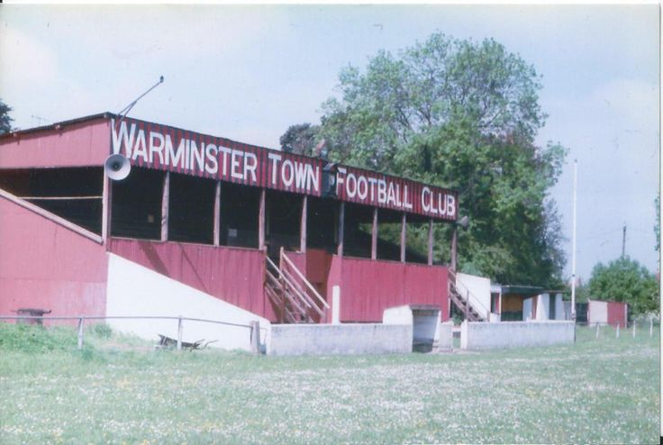 A lost Wiltshire gem, Warminster Town's proudly signposted grandstand.  Pic Bob Lilliman.