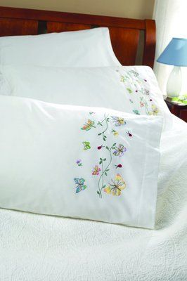 Butterflies In Flight Pillowcase Pair Stamped Embroidery Kit 123Stitch.com