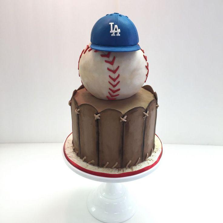 Fondant vintage baseball themed cake by Frost It Cakery Dodger Cake