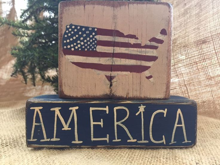 Primitive Americana Red White Blue US Amercia 2 pc Shelf Sitter Wood Block Set #PrimtiveCountry