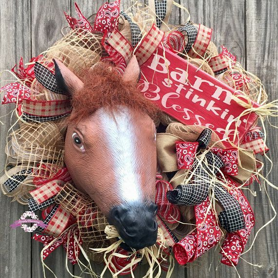 Farmhouse Wreath Horse Head Wreath Burlap Wreath Rodeo Wreath Country Wreath Western Wreath Horse Wreath Horse Decor Ranch Wreath