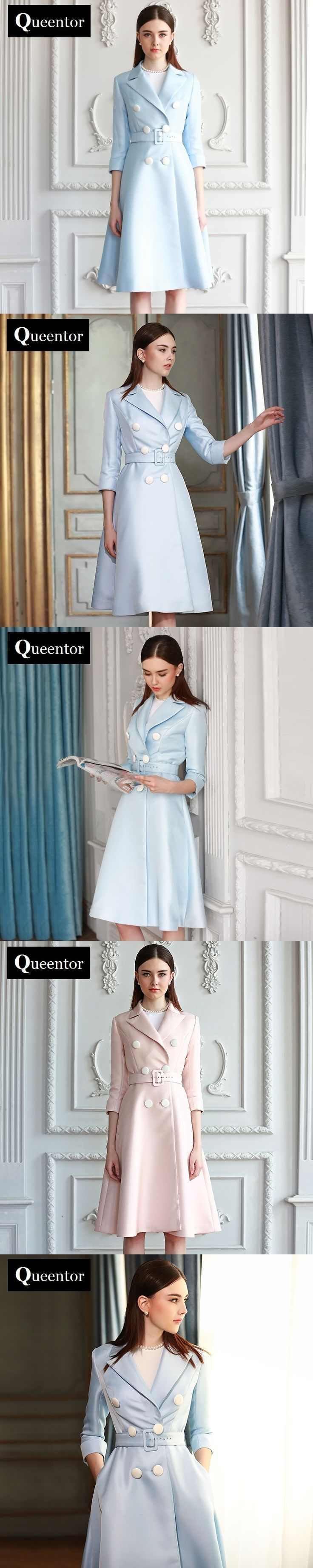 QUEENTOR original 2017 brand designer outerwear autumn vintage casual solid trench coat for women