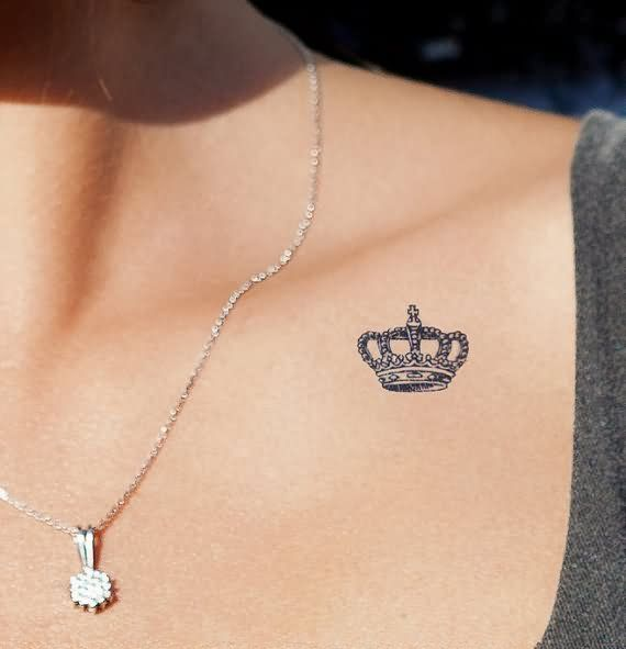 Small Crown Tattoo On Collarbone