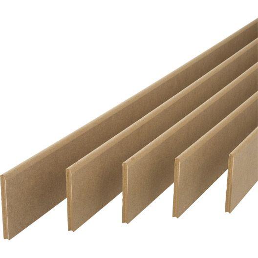 Lot de 5 plinthes MDF (médium)réversibles (arrondie ou droite), 100 x 10 mm x 2m