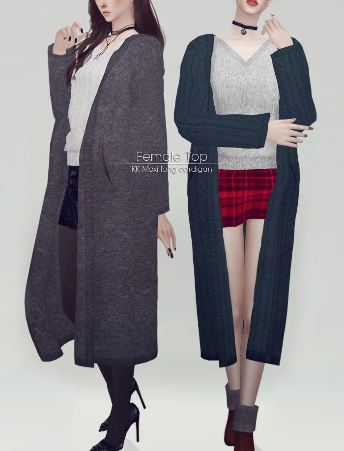 """ooobsooo: """"KK Maxi long cardigan for Female • T-E (Female) • My mesh / All morphs / All LODs • Custom thumbnails • 10 Color • Please use with tight bottoms • When you bend knees a little problem """" ⛔..."""