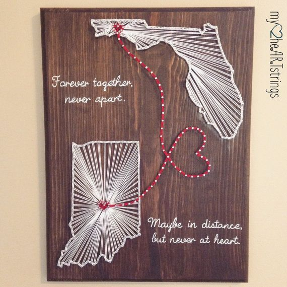 Two states, two hearts, one love. This 11x15 board can be customized with choice of states, cities (hearts) and script if desired.  Please specify: * state(s)/ cities * stain color * string color * if you want script wording