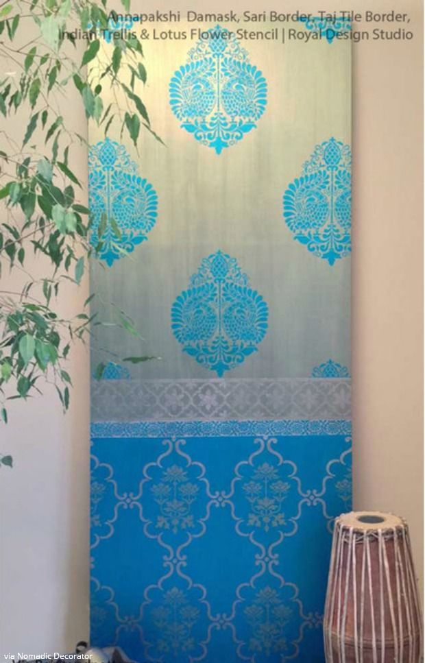 Exotic Wall Stencils Ideas For Painting DIY Indian Decor