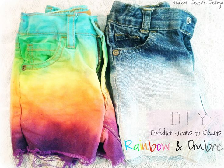 Issamar Sellene Design: DIY: Toddler Jeans to Shorts - Ombre and Rainbow