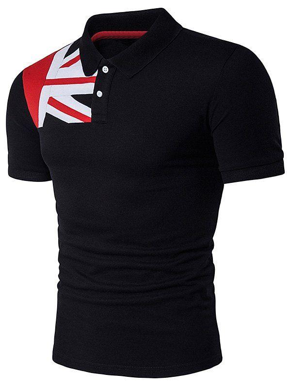 Color Block Flag Panel Polo T-Shirt - BLACK 2XL
