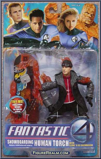 Human Torch (Snowboarding) from Fantastic Four - Movie - Series 3 manufactured by Toy Biz [Front]