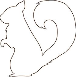 Squirrel pattern. Print, have children paint or color the body in shades of brown, glue lots of fall leaves to the tail.