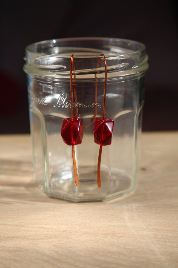 Unique handmade minimalcopper glass earrings. by alfiyaV on Etsy