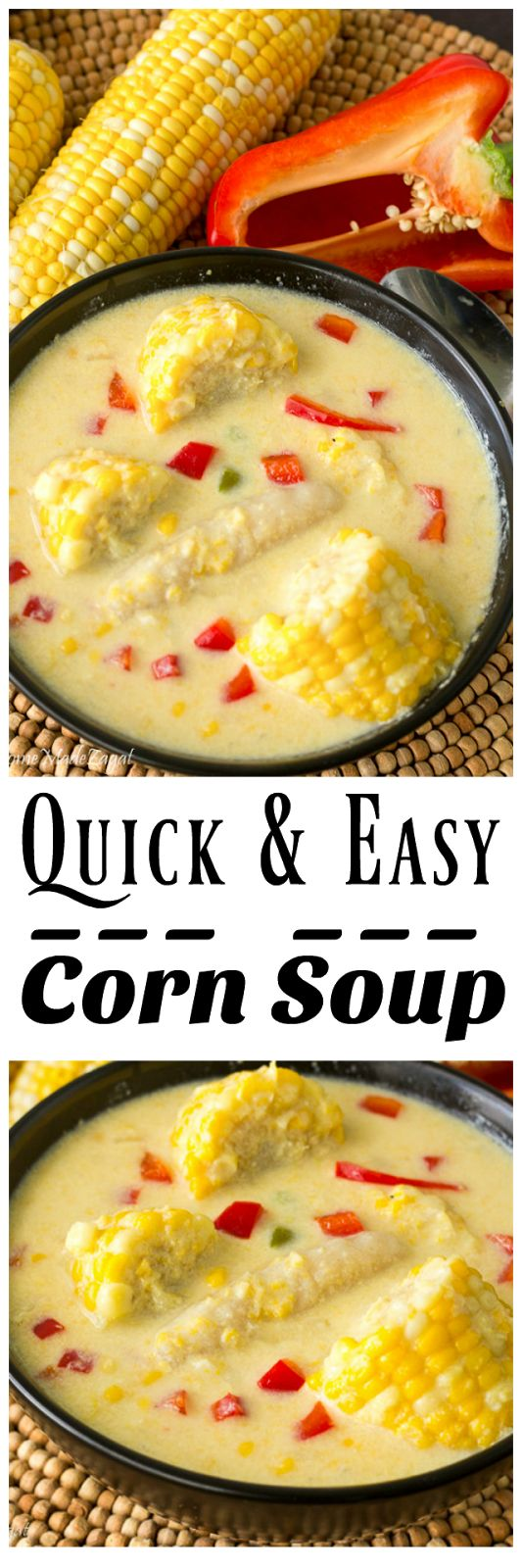 A quick version of the popular Trinidadian corn soup, full of creamy corn and perfect for both hot and cold weathers.