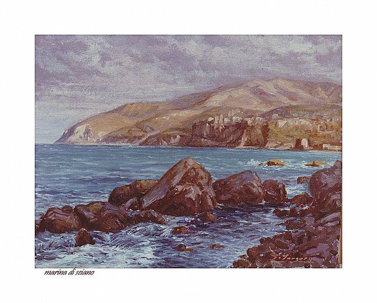 Veduta a Seiano by giuseppe gorgero  Dipinto ad olio cm. 30 x 40 - Veduta della costa da Seiano NA