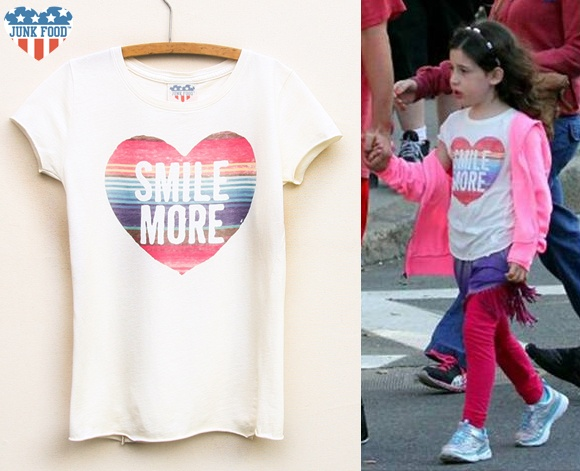 Adam Sandler's daugher Sadie in her Junk Food kids Smile More tee!  www.junkfoodclothing.com