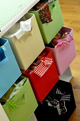 Totally gonna organize my scrap stash like this, I even have these drawers in all the colors I'd need already!