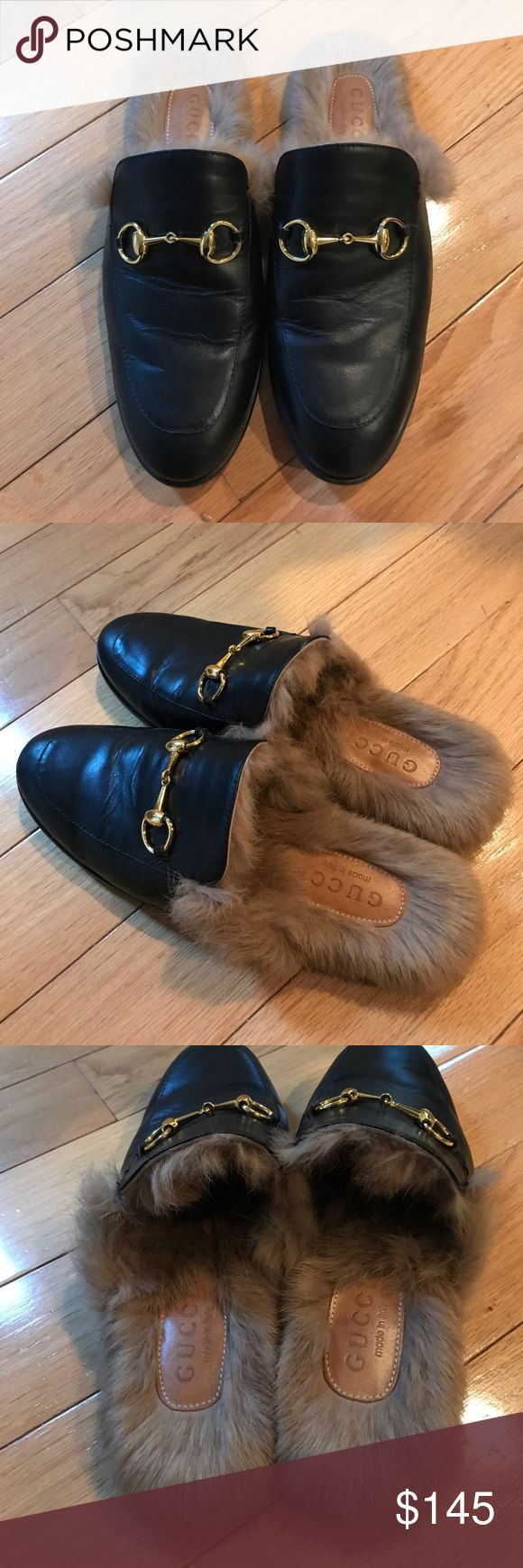 Gucci princetown leather w fur loafer slides mules Great condition genuine leather with real fur black Princetown style slides. Size 40 Shoes Flats & Loafers