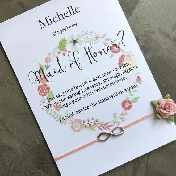 Tarjeta floral dama de honor Ask criada del honor deseo