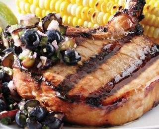 Teriyaki Pork Chops with Blueberry-Ginger Relish   I USED CHICKEN RATHER THAN PORK.  FISH WOULD BE GOOD TOO