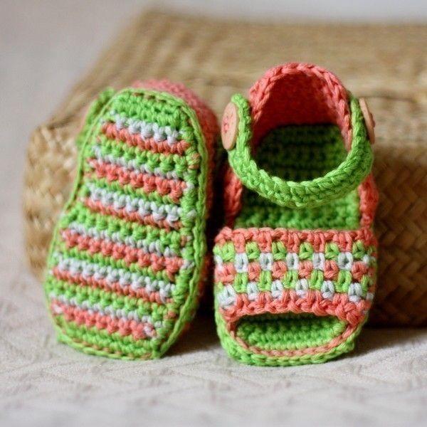Crochet PATTERN (pdf file) - Multi-coloured Sandals. $3.99, via Etsy.