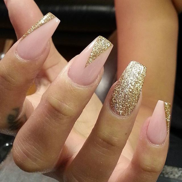 197 best gold nail art designs images on pinterest acrylic nails pink and gold nails prinsesfo Choice Image