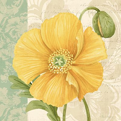 RB8740PG <br> Pastel Poppies I <br> 12x12