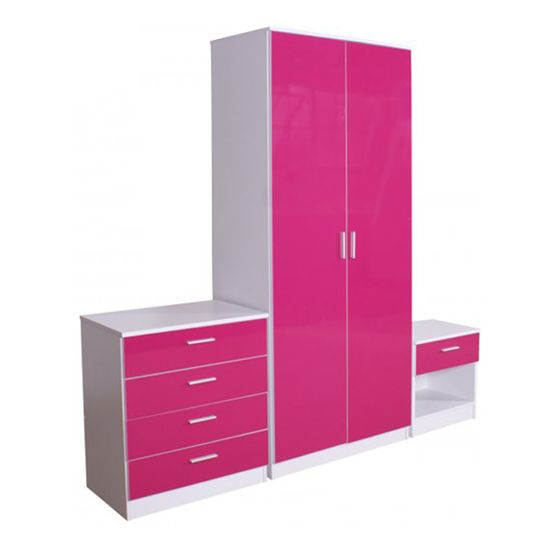 Ottawa 3 Piece Bedroom Set In Matt White And Pink High Gloss 17208 Contemporary Collection Of Furniture Sets Modern