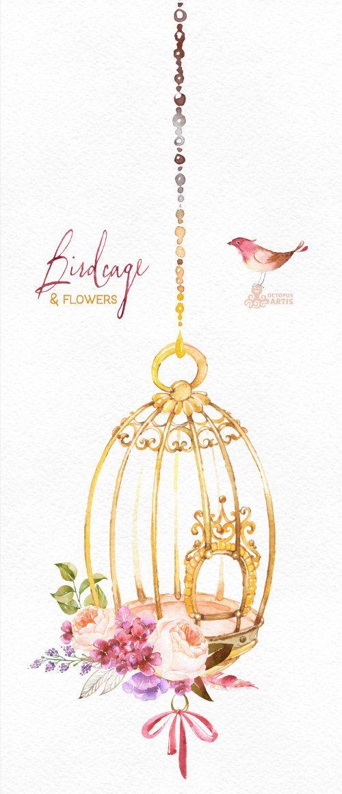 Cage à oiseaux et fleurs. Clipart fleurs aquarelle oiseaux